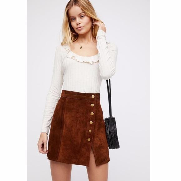 Free People Dresses & Skirts - Free People Suede Mini Skirt Understated Leather
